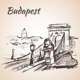 Pont à chaînes - Budapest, Hongrie Photo libre de droits