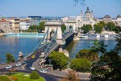 Pont à chaînes de Szechenyi, Budapest, Hongrie Photo stock