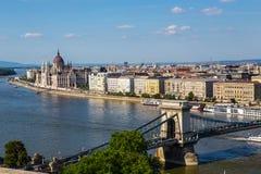 Pont à chaînes et Danube à Budapest Photo libre de droits