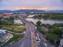 Pont à travers le lac Suan Luang Photographie stock