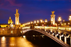 Pont Александр III в Париже Франции над Сеной Стоковая Фотография RF