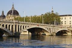 Pont Уилсон на Роне в Лионе Стоковые Фотографии RF