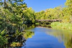 Pont abandonné en chemin de fer en île Louisiane de Guste Images libres de droits