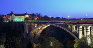 Pont Adolphe Bridge Luxembourg. Image of the Pont ADolphe in Luxembourg City at dusk Royalty Free Stock Images