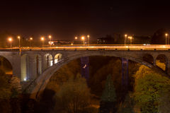 Pont Adolphe Bridge. In Luxembourg City at night Stock Image
