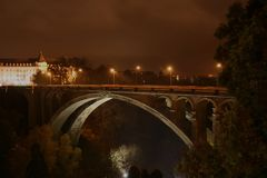 Pont-Adolphe, Luxembourg by night. A night view of Pont-Adolphe in Luxembourg-City Royalty Free Stock Photos