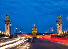 Pont Alejandro iii en la oscuridad Foto de archivo libre de regalías