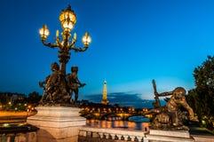 Pont Alejandro III por la ciudad Francia de París de la noche Imágenes de archivo libres de regalías