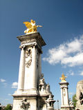 Pont Alexander III - Paris, Sena. Columns of the Bridge Alexander III over the Seine, Paris Royalty Free Stock Photos
