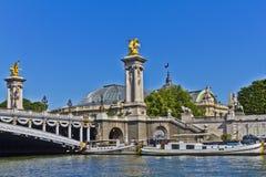 Pont Alexandre III曲拱著名桥梁在巴黎 免版税库存照片