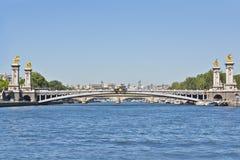 Pont Alexandre III曲拱著名桥梁在巴黎 免版税图库摄影