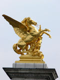 Pont Alexandre III. Sculptures at Pont Alexandre III in Paris stock photography