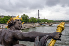 Pont Alexandre III across the River Seine with Eiffel Tower Royalty Free Stock Image