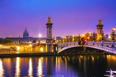 Pont Alexandre III Alexander III bro i Paris, Frankrike arkivbild