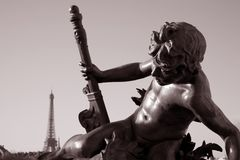 Pont Alexandre III Bridge with the Eiffel Tower Royalty Free Stock Photos