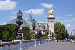 Pont Alexandre III Bridge and Grand Palace, Paris France. Stock Image