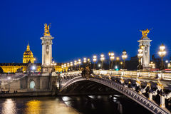 Pont Alexandre III bridge over river Seine with beautiful night Royalty Free Stock Images