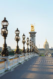 Pont Alexandre III bridge in Paris, empty in the morning Royalty Free Stock Photography