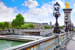 Pont Alexandre III bridge (1896) spanning the river Seine. Decor Royalty Free Stock Photo