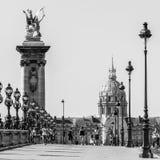 Pont Alexandre III Brug met Hotel des Invalides Parijs, Frank royalty-vrije stock afbeelding