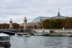 The Pont Alexandre III is a deck arch bridge that spans the Seine in Paris. stock image