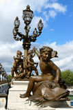 Pont Alexandre III detail in Paris. Royalty Free Stock Photos