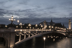 Pont Alexandre III at dusk Royalty Free Stock Images