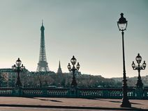 Pont Alexandre III with Eiffel tower stock photo