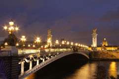 Pont Alexandre III at evening Royalty Free Stock Photo