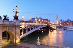 Pont Alexandre III and Grand Palais at dusk, Paris Stock Photography