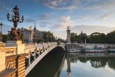 Pont Alexandre III i Uroczysty Palais, Paryż, Francja Zdjęcie Stock