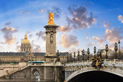 Pont Alexandre III and Les Invalide Royalty Free Stock Images