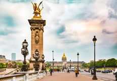 Pont Alexandre III and Les Invalides in Paris, France. stock photo