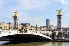 Pont Alexandre III and Montparnasse Tower Stock Images
