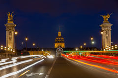 Pont Alexandre III at night illumination Stock Photos