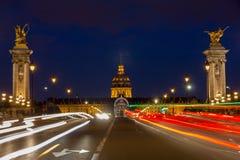 Pont Alexandre III at night illumination stock photos