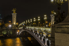 Pont Alexandre III at night Royalty Free Stock Photos