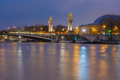 Pont Alexandre III at night in Paris, France Royalty Free Stock Photo