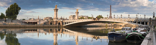 Pont Alexandre III och Eiffeltorn, Paris Arkivfoto