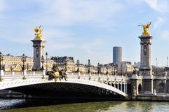 Pont Alexandre III och Montparnasse torn Arkivbilder