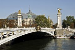 Pont Alexandre III of Paris. With the Grand Palais in the background Royalty Free Stock Images