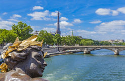 Pont Alexandre III in Paris. Detail of the Pont Alexandre III in Paris, France Stock Photos