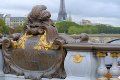 Pont Alexandre III in Paris, France. Decorations on the Pont Alexandre III in Paris, France Royalty Free Stock Photos