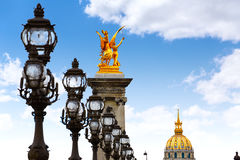 Pont Alexandre III in Paris France over Seine Stock Photos