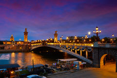Pont Alexandre III in Paris France over Seine Stock Photo