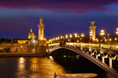 Pont Alexandre III in Paris France over Seine Royalty Free Stock Images