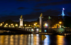 Pont Alexandre III in Paris at night Royalty Free Stock Image