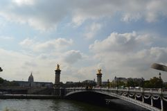 Pont Alexandre III. Was built in 1900, a total length of 107 meters of the bridge by a bridge, both ends, on both sides of the bridge, with a huge stone pillars Royalty Free Stock Photos