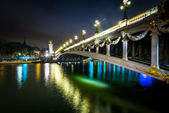 Pont Alexandre III and the Seine at night, in Paris, France. Royalty Free Stock Images