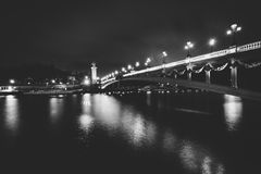 Pont Alexandre III and the Seine at night, in Paris, France. Royalty Free Stock Photography